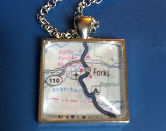 WA Map of Forks Pendant