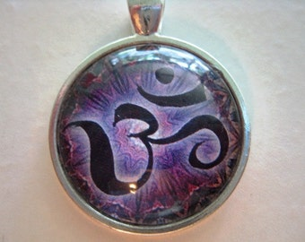 Yoga Necklace:  Om on Mandala Necklace (012)