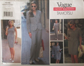 Vogue Career 1546 Tamotsu Women's Jacket Dress Top Skirt Pants Sewing Pattern Bust 34 36 38