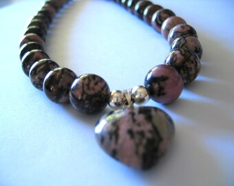RHODONITE GEMSTONE Necklace with HEART Pendant