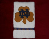 Notre Dame Fighting Irish Hand Towel for Bathroom, Kitchen, Bar or Grill,Grad Gift