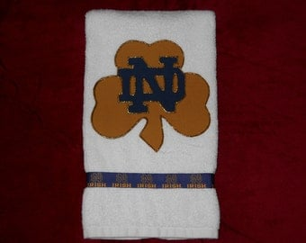 Notre Dame Fighting Irish Hand Towel, Notre Dame Kitchen Towel, Notre Dame Bathroom Towel, Notre Dame Fan Gift, Notre Dame Grad Gift
