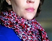Chunky red, black, and white cowl infinity scarf