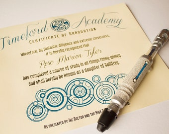Timelord Academy Graduation Certificate - Customizable  PDF FILE - A4 or Letter Size