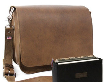 "14"" Brown Rockport Mission Leather Briefcase - Made in America"