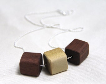 cubes - reclaimed wood and sterling silver