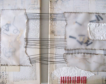 mixed media stitched diptych.  white abstract collage.  map of her bones.
