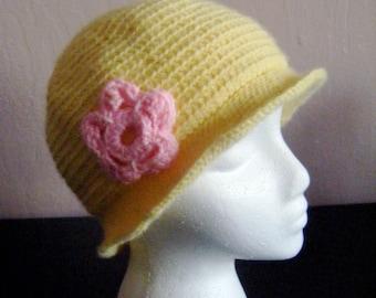 Yellow Beanie Pink Flower