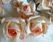 12 Medium Peach Cream Parchment Paper Roses Wedding Floral Decorations