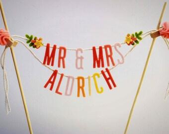 Wedding Cake Banner, Wedding Cake Topper, Cake Garland, Cake Banner, Custom Cake Banner, Custom Cake Garland:  Sunset Hues