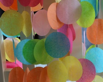 Tissue Paper Garland, Rainbow Garland, Party Garland, Birthday Garland, Wedding Garland, Photo Backdrop- Rainbow Pastels