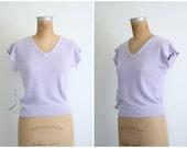 silk linen & angora short sleeve ladies sweater - vintage 80s deadstock / Pale Lavender - 1980s - lolita / soft lilac - pastel kawaii