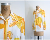 Reserved for A // SALE - vintage 70s Vera Neumann ladies top - polyester shirt / Golden Yellow - abstract floral print / 1970s blouse