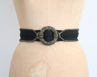 70s metallic disco belt - 1980s woven lurex belt / black & metallic gold lurex belt - 80s lurex belt / 70s black cinch belt - New Wave belt