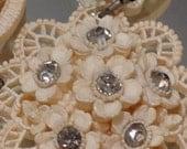 Featherlite Bubbleite Rhinestone Japanese Necklace Vintage Wedding Bridal Jewelry