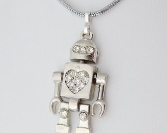 Sparkling Heart Silver Robot Necklace - Cute Geek Chic Fashion Jewelry