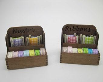 Miniature sewing haberdashery ribbon display