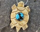 Turtle Pendant Bone Side Drilled Turquoise Center Handmade by Ginny