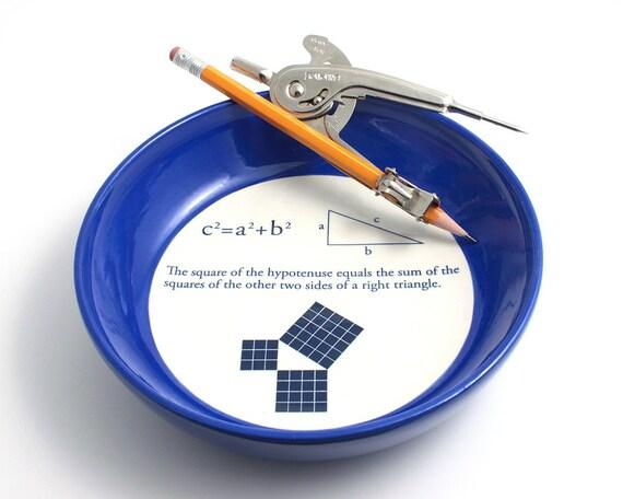 Pythagorean Theorem Geometry Math Bowl in Cobalt Blue