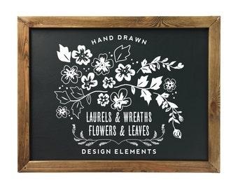 Hand Drawn Laurels and Wreaths, Flowers and Leaves Clipart for blog graphics, invitations, wall art and more Includes 68 PNG, 2 EPS