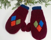 SUPER Warm Wool Mittens for little kids. Double cuffs. Hand Knit. Felted for Extra Warmth.