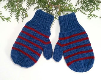 SUPER Warm Wool Mittens for kids. Double yarn. Hand knit. Blue and red stripes.