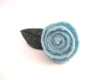 Rose Pin, Felted Wool Brooch AQUA Blue Felted Sweater Wool, Eco Fashion Gift, Lapel Pin, Boutonniere, Recycled Jewelry, Gift Under 15