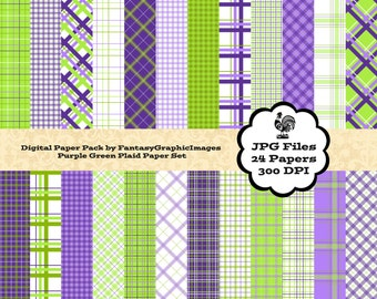 Plaid Digital Paper Tartan Purple Lime Apple Green The Plaid Series 24 Papers Photography Background Printable Scrapbook Instant Download