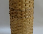 Toilet Paper Basket with Lid-Bathroom Tissue Basket-Tall Handwoven Basket with a Lid-Handwoven Basket