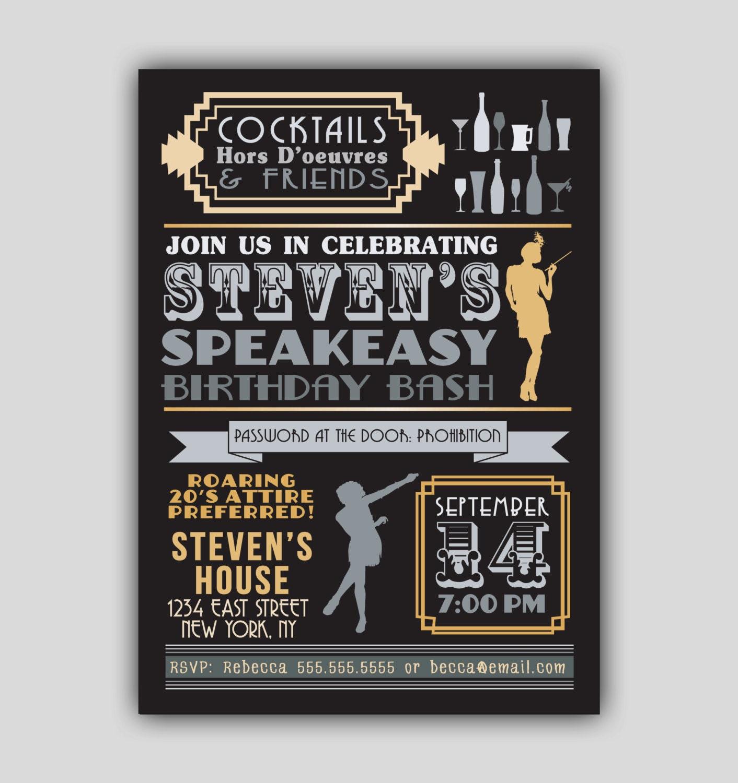 Speakeasy Prohibition 1920s Art Deco Invitation 1920s Prohibition Party