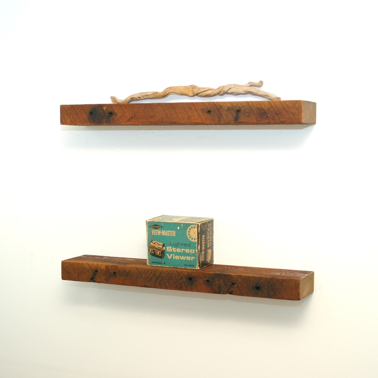 Floating Wood Shelves ~ Floating reclaimed wood shelves