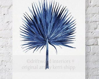 Fan Palm Watercolor in Denim Blue Print 11x14 - Watercolor  Print - Tropical Wall Art