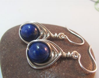 Lapis lazuli earrings -  wire wrapped gemstone earrings - blue earrings - wire wrap earrings - something blue - sterling silver ear hooks