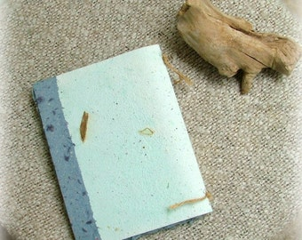 Recycled paper notebook - blue handmade paper - natural journal with tree bark