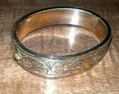 Vintage 8k Gold Rolled Hinge Bracelet Filigree Pattern