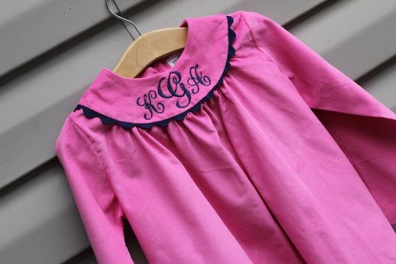 Girls Pink Monogrammed Corduroy Dress