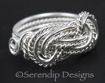 Sterling Silver Double Twisted Knot Ring in Your Size, Fancy Large Lovers Knot Ring,