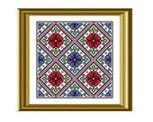 Ukrainian Flowers Geometric Red and Blue Cross Stitch Pattern PDF Instant Download