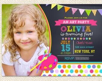 Painting Party Birthday Invitations