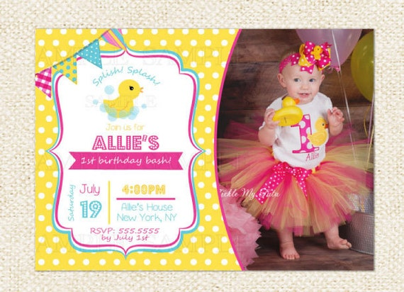 Items similar to Rubber Duck Birthday Invitations on Etsy – Rubber Duck Birthday Invitations