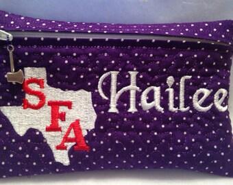 Stephen F Austin State University Zipper Bag Case Pouch