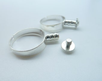 10pcs Silver Plated Brass Adjustable Ring Base For Style Bead C2487