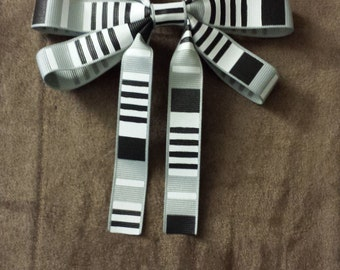 Black White and Grey Striped Ribbon Hair Bow Clip