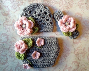 The Sofia Flower Beanie in Pink, Gray and Celery Green with Matching Diaper Cover and Headband in Newborn to 24 Months Size- MADE TO ORDER