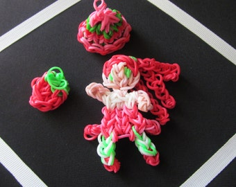 """Rainbow loom """"Dress up Strawberry Shortcake""""---- Perfect for Birthdays, Party Favors, or for colletions--  Take an Extra 30% OFF"""