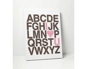 CANVAS ALPHABET: I Love You Heart Alphabet Print Baby Nursery Sign on Canvas Wall Decor