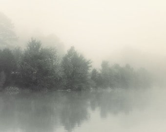 landscape photography, lake house art, lake house decor, lake photography, fog photography, serene, coastal, tranquil, Lakeshore in Fog