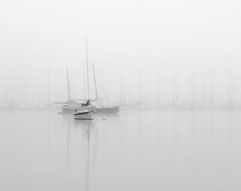 Sailboat photography, nautical photography, lake house decor, sailboats in fog, sailboats, beach house decor, black and white photography