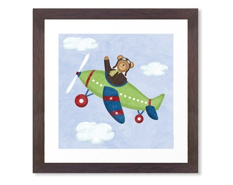 Airplane Nursery Art - Teddy Bear Aviator - 12 x 12 - Children's Airplane Art Print - Airplane Wall Decor