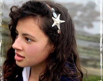 Starfish And Seashell Headband - Bridesmaid, Bridal, Flower Girl - Beach Weddings - Mermaid - Hippie, Boho Bride, Spring, Summer, Fall